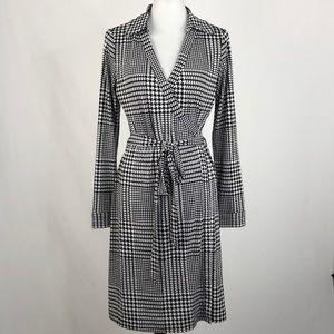 Calvin Klein Houndstooth Print Wrap Dress, Size 12